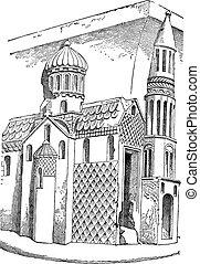 Saint Saviour Church in Nevers, France, vintage engraving
