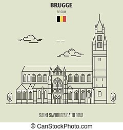 Saint Saviour's Cathedral in Brugge, Belgium. Landmark icon in linear style