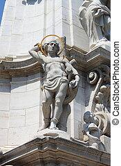 Saint Sebastian in the Holy Trinity column of Budapest