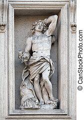 Saint Sebastian on the portal of Sant Andrea della Valle ...