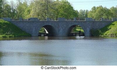 saint, slavyanka, rivière, étang, pavlovsk, pont, pierre, russia., petersburg, marienthal