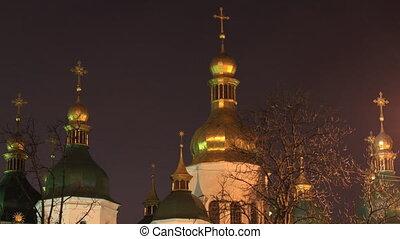 Saint Sophia Cathedral in Kiev time - Kiev , Ukraine