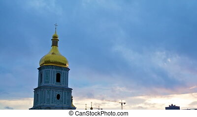 clouds over Saint Sophia Cathedral in Kiev, timelapse
