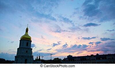 sunset over Saint Sophia Cathedral in Kiev, timelapse