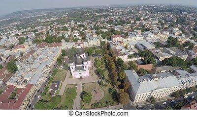 Saint Spirit Cathedral in Chernivtsi, Ukraine. drone video -...