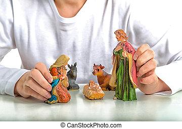 saint, statues, garçon, tient, noël, famille, berceau