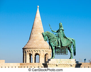 Saint Stephen I mounted statue- the first king of Hungary at Fisherman's Bastion in Budapest