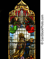 Saint Stephen of Hungary, stained glass in Zagreb cathedral