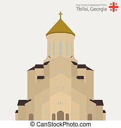 saint, tbilisi., georgia., sameba, église, cathédrale, trinité