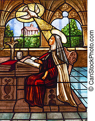 Saint Teresa Writing Stained Glass Convento de Santa Teresa...