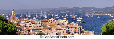 Saint Tropez sea coast - panorama of Saint-Tropez cityscape,...