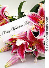 saint-valentin, carte, à, liliums