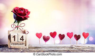 saint-valentin, -, date calendrier, à, rose, et, cœurs,...