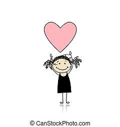 Saint valentine day - cute girl holding heart