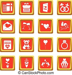 Saint Valentine icons set red