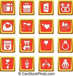 Saint Valentine icons set red