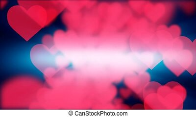 """Saint Valentines Day or the Feast of Saint Valentine background animation with large red Love Hearts falling on the camera on the dark background. Shallow depth of field and seamless loop animation. """