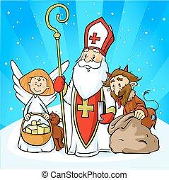 saint, -, vecteur, dessin animé, nicolas, ange, illustration, diable