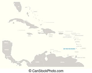 Saint Vincent and Grenadines blue marked in the map of...