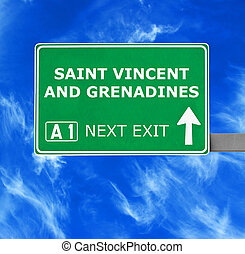 SAINT VINCENT AND GRENADINES road sign against clear blue sky