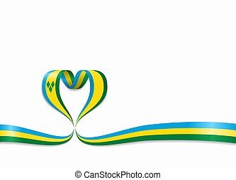 Saint Vincent and the Grenadines flag heart-shaped ribbon....