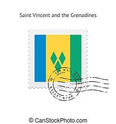 Saint Vincent and the Grenadines Flag Postage Stamp. - Saint...