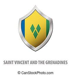 Saint Vincent and the Grenadines flag on metal shiny shield...
