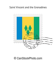 Saint Vincent and the Grenadines Flag Postage Stamp. - Saint...