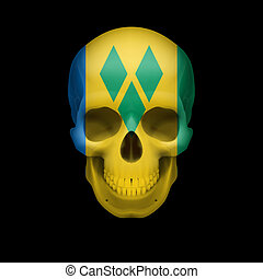 Saint Vincent and the Grenadines flag skull - Human skull...