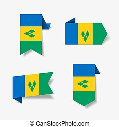 Saint Vincent and the Grenadines flag stickers and labels....
