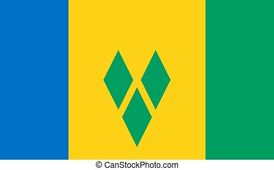 Saint Vincent and the Grenadines Flag  - Vector Illustration