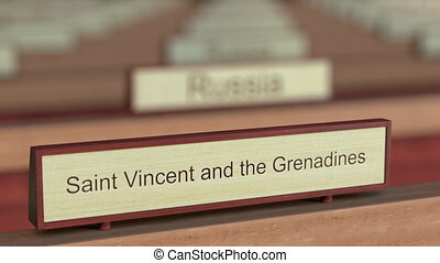Saint Vincent and the Grenadines name sign among different...