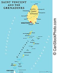 Saint Vincent and the Grenadines political map with capital Kingstown. Island country in the Lesser Antilles Island arc. English labeling and scaling. Illustration.