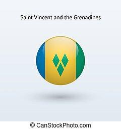 Saint Vincent and the Grenadines round flag. - Saint Vincent...