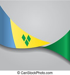 Saint Vincent and the Grenadines wavy flag. Vector...