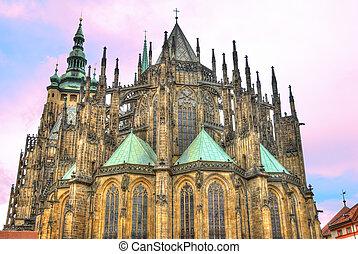 Saint Vitus gothic Cathedral in Prague, Czech Republic