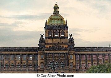 Saint Wenceslas Statue and Prague National Museum