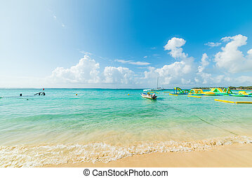 Sainte Anne beach in Guadeloupe on a clear day, French west indies. Lesser Antilles, Caribbean sea