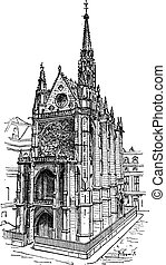 Sainte-Chapelle in Paris, France, vintage engraving.