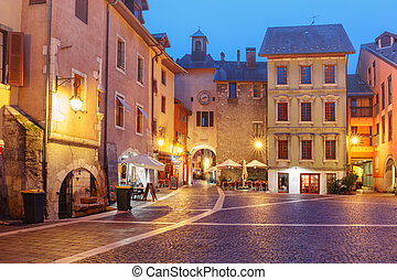 Sainte-Claire gate in Old Town of Annecy, France -...