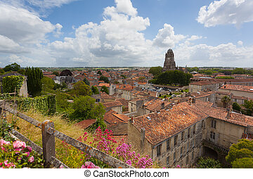 Panoramic view of the town of Saintes in France