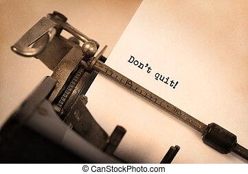 sair, faça, vindima, -, determinação, mensagem, máquina escrever