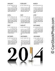 sair, fumar, calendário, 2014
