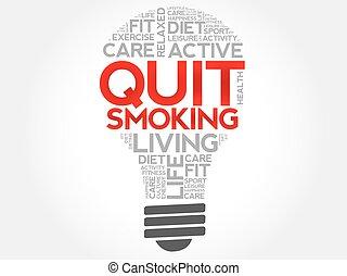 sair, fumar, palavra, nuvem, bulbo