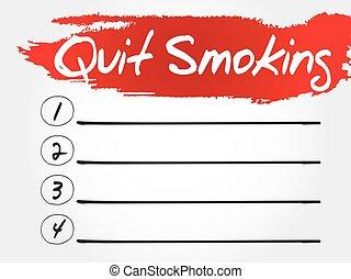 sair, lista, fumar, em branco