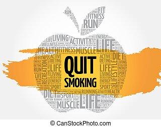 sair, maçã, fumar