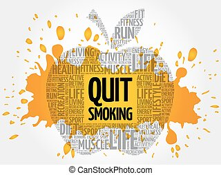 sair, palavra, maçã, nuvem, fumar