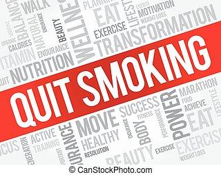 sair, palavra, nuvem, fumar