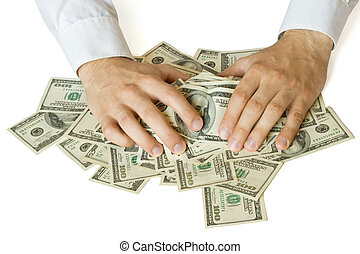 saisir, argent, gourmandes, mains