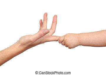 saisir, bébé, femme, doigt, main